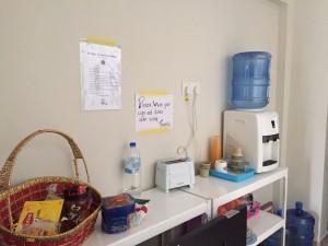 Free water, tea, coffee, bread