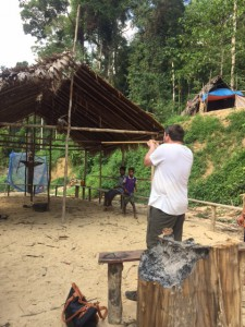 Andrew having a go at the Orang Asli blowpipe